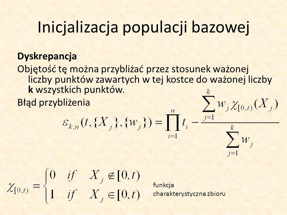 Inicjalizacja populacji bazowej Dyskrepancja Objętość tę można przybliżać przez stosunek ważonej liczby punktów zawartych w tej kostce do ważonej licz