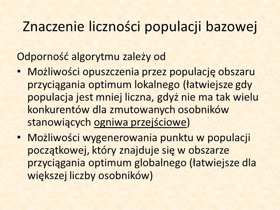 Znaczenie liczności populacji bazowej Odporność algorytmu zależy od Możliwości opuszczenia przez populację obszaru przyciągania optimum lokalnego (łat
