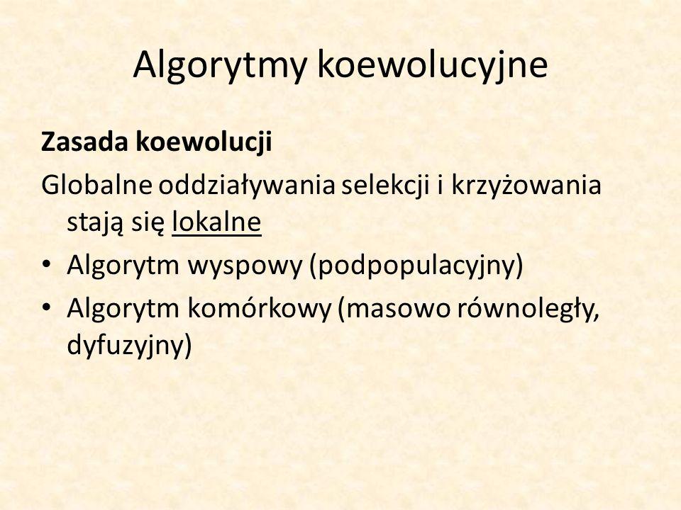 Algorytmy koewolucyjne Zasada koewolucji Globalne oddziaływania selekcji i krzyżowania stają się lokalne Algorytm wyspowy (podpopulacyjny) Algorytm ko
