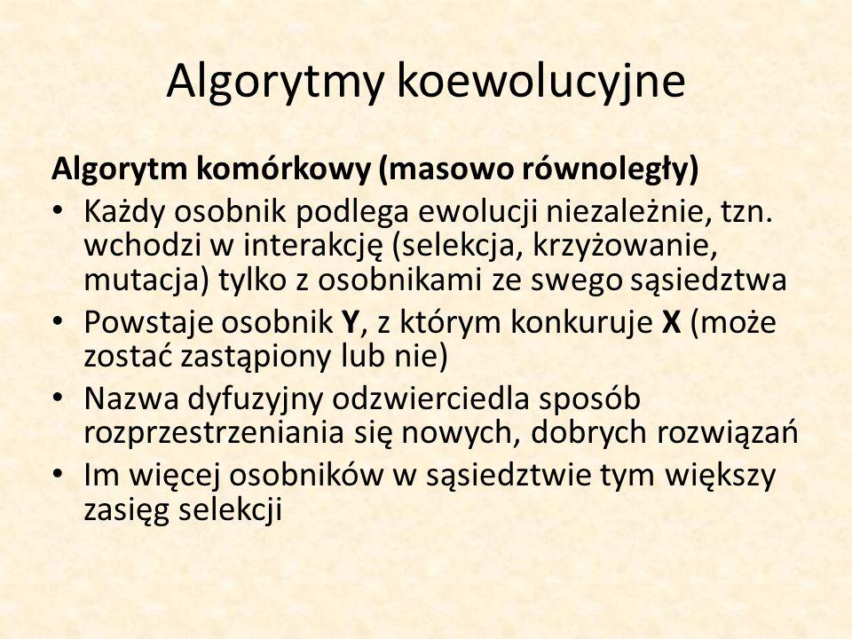 Algorytmy koewolucyjne Algorytm komórkowy (masowo równoległy) Każdy osobnik podlega ewolucji niezależnie, tzn. wchodzi w interakcję (selekcja, krzyżow