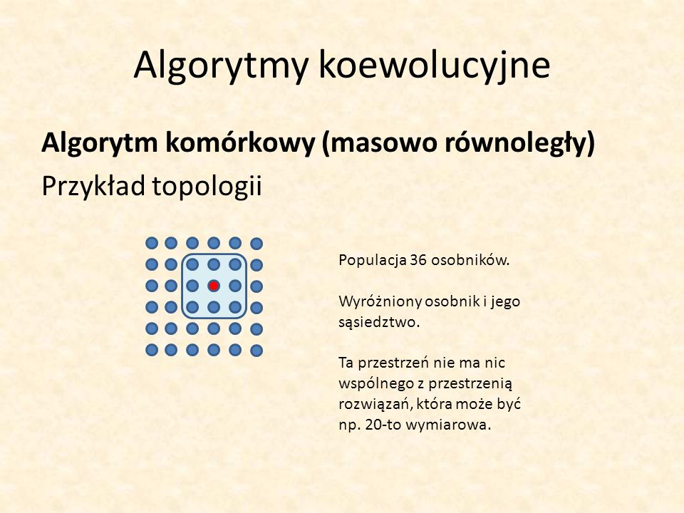 Algorytmy koewolucyjne Algorytm komórkowy (masowo równoległy) Przykład topologii Populacja 36 osobników. Wyróżniony osobnik i jego sąsiedztwo. Ta prze