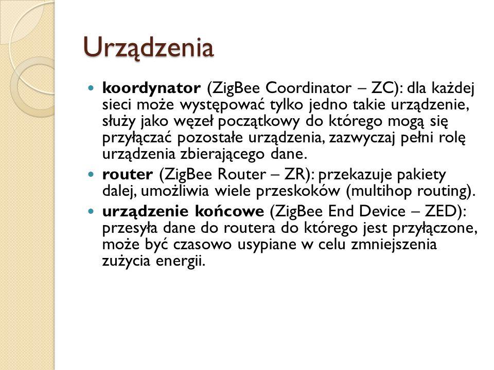 Urządzenia koordynator (ZigBee Coordinator – ZC): dla każdej sieci może występować tylko jedno takie urządzenie, służy jako węzeł początkowy do któreg