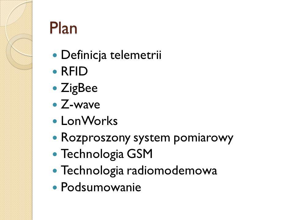 Plan Definicja telemetrii RFID ZigBee Z-wave LonWorks Rozproszony system pomiarowy Technologia GSM Technologia radiomodemowa Podsumowanie
