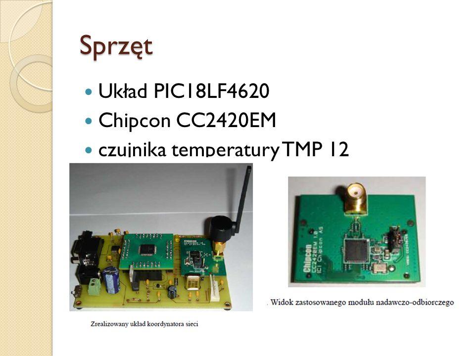 Sprzęt Układ PIC18LF4620 Chipcon CC2420EM czujnika temperatury TMP 12