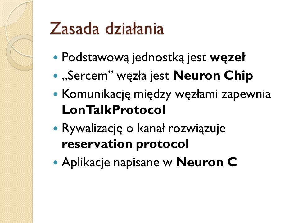 Zasada działania Podstawową jednostką jest węzeł Sercem węzła jest Neuron Chip Komunikację między węzłami zapewnia LonTalkProtocol Rywalizację o kanał