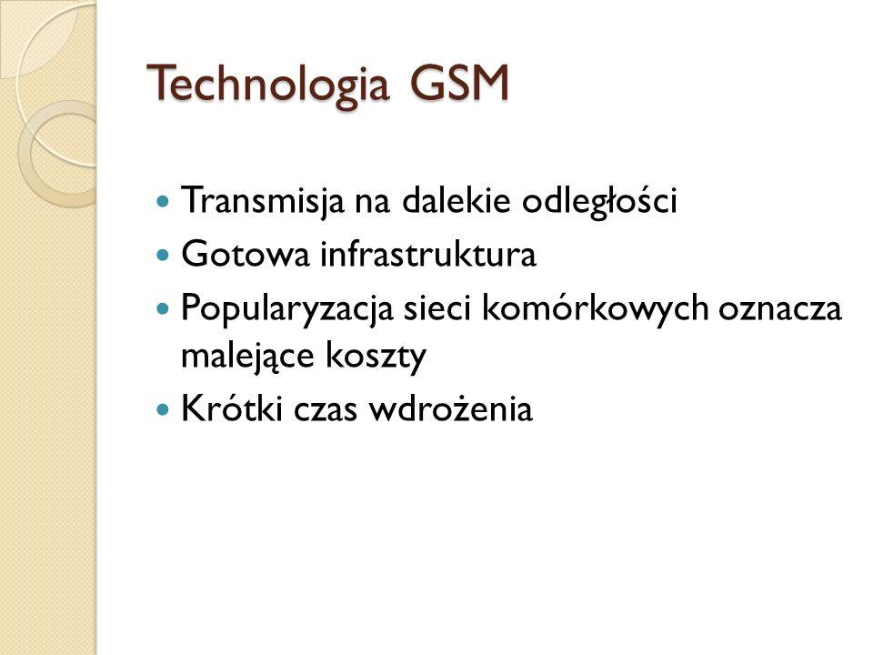 Technologia GSM Transmisja na dalekie odległości Gotowa infrastruktura Popularyzacja sieci komórkowych oznacza malejące koszty Krótki czas wdrożenia