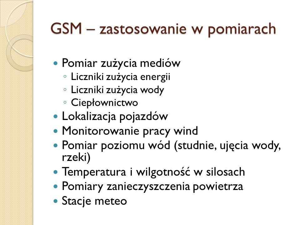 GSM – zastosowanie w pomiarach Pomiar zużycia mediów Liczniki zużycia energii Liczniki zużycia wody Ciepłownictwo Lokalizacja pojazdów Monitorowanie p