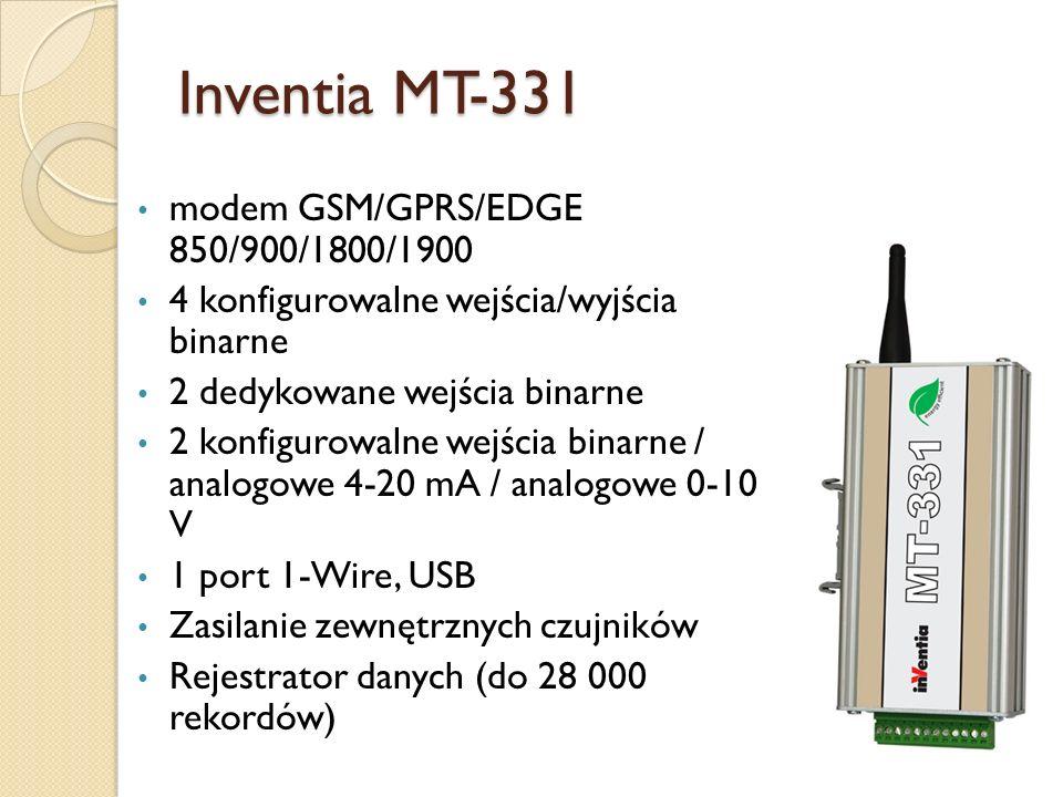 Inventia MT-331 modem GSM/GPRS/EDGE 850/900/1800/1900 4 konfigurowalne wejścia/wyjścia binarne 2 dedykowane wejścia binarne 2 konfigurowalne wejścia b