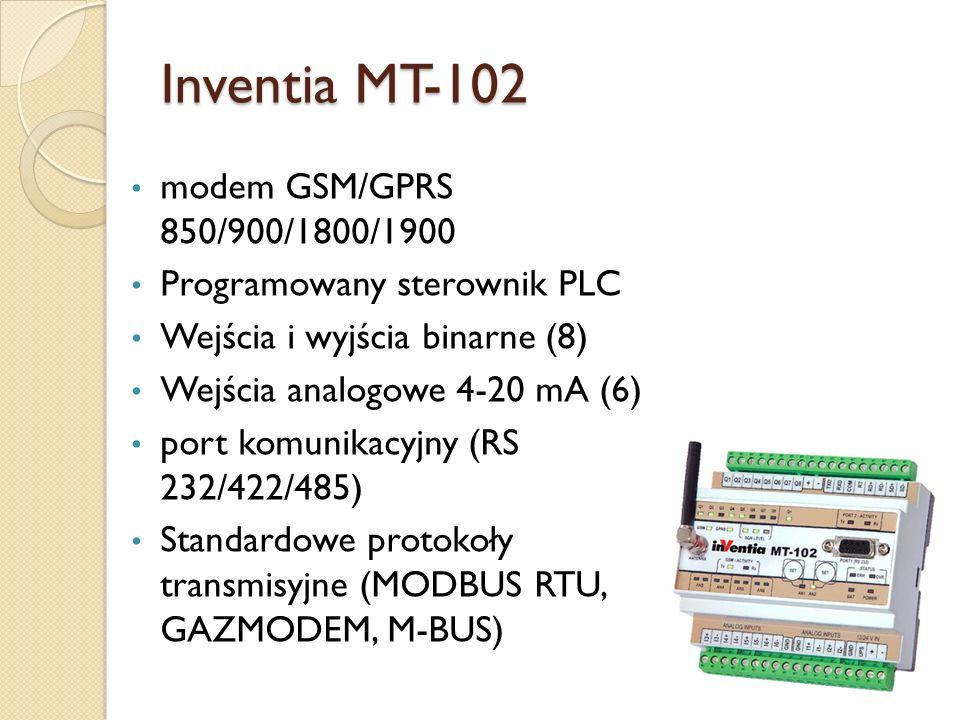Inventia MT-102 modem GSM/GPRS 850/900/1800/1900 Programowany sterownik PLC Wejścia i wyjścia binarne (8) Wejścia analogowe 4-20 mA (6) port komunikac