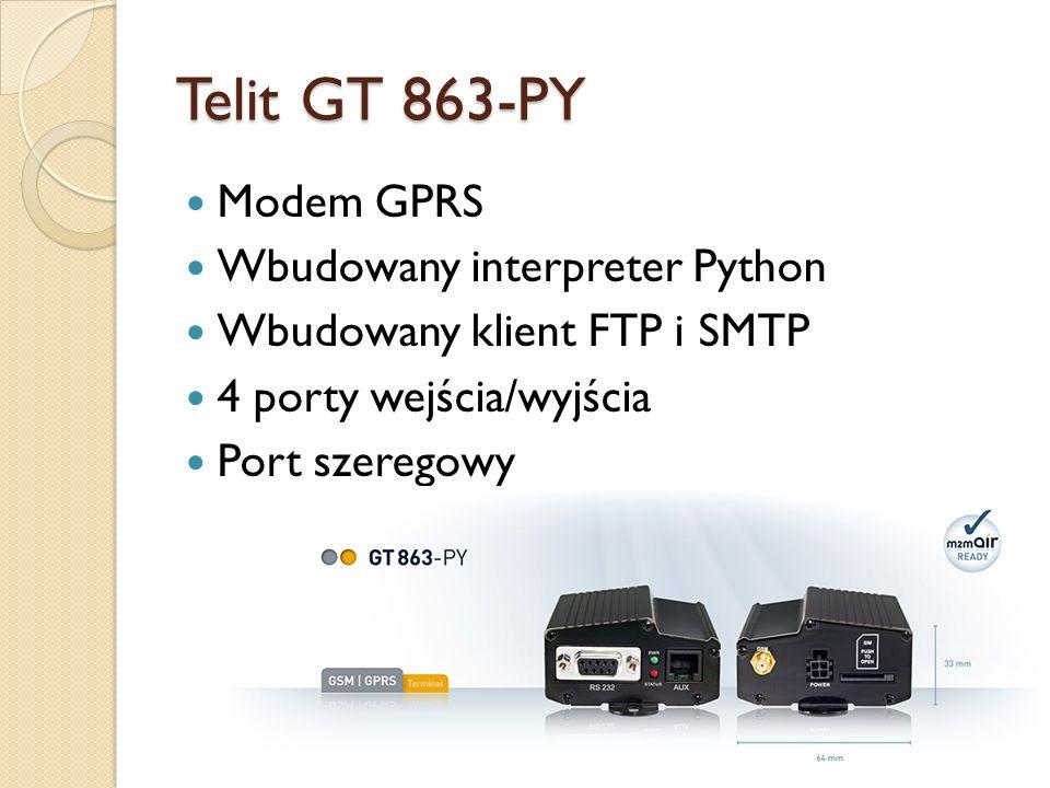 Telit GT 863-PY Modem GPRS Wbudowany interpreter Python Wbudowany klient FTP i SMTP 4 porty wejścia/wyjścia Port szeregowy