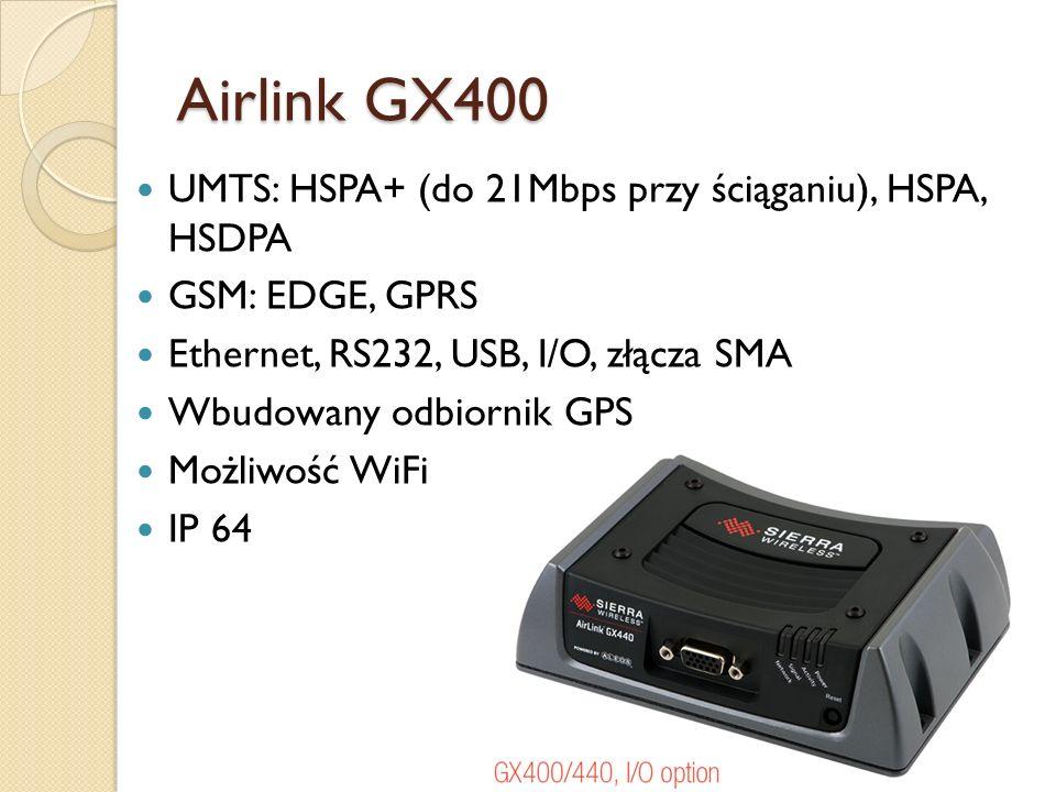Airlink GX400 UMTS: HSPA+ (do 21Mbps przy ściąganiu), HSPA, HSDPA GSM: EDGE, GPRS Ethernet, RS232, USB, I/O, złącza SMA Wbudowany odbiornik GPS Możliw