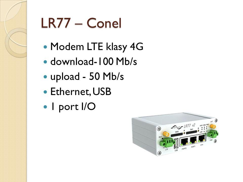 LR77 – Conel Modem LTE klasy 4G download-100 Mb/s upload - 50 Mb/s Ethernet, USB 1 port I/O
