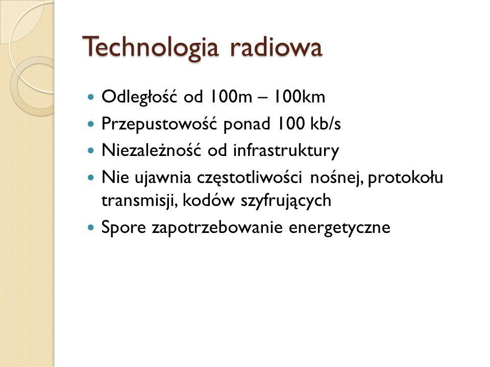 Technologia radiowa Odległość od 100m – 100km Przepustowość ponad 100 kb/s Niezależność od infrastruktury Nie ujawnia częstotliwości nośnej, protokołu