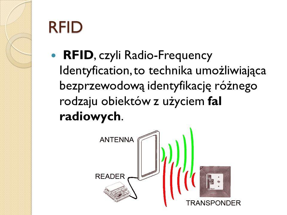 RFID RFID, czyli Radio-Frequency Identyfication, to technika umożliwiająca bezprzewodową identyfikację różnego rodzaju obiektów z użyciem fal radiowyc