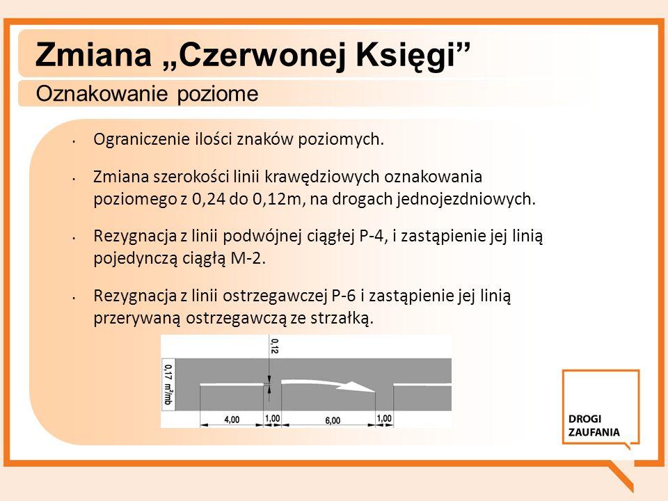Zmiana Czerwonej Księgi Oznakowanie poziome Ograniczenie ilości znaków poziomych. Zmiana szerokości linii krawędziowych oznakowania poziomego z 0,24 d