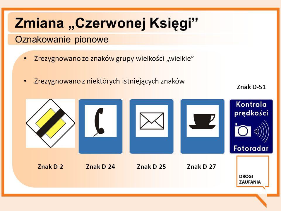 Zrezygnowano ze znaków grupy wielkości wielkie Zrezygnowano z niektórych istniejących znaków Zmiana Czerwonej Księgi Oznakowanie pionowe Znak D-25Znak