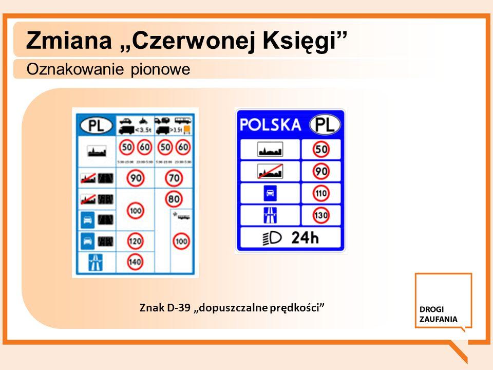 Zmiana Czerwonej Księgi Oznakowanie pionowe Znak D-39 dopuszczalne prędkości