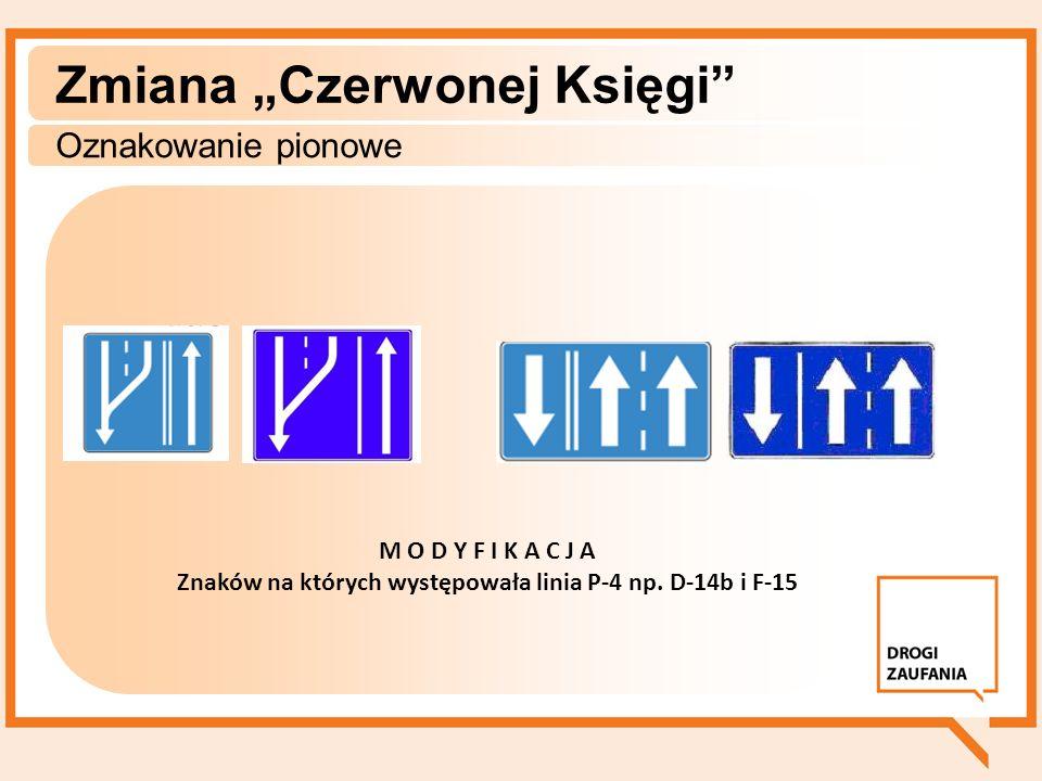 Zmiana Czerwonej Księgi Oznakowanie pionowe M O D Y F I K A C J A Znaków na których występowała linia P-4 np. D-14b i F-15