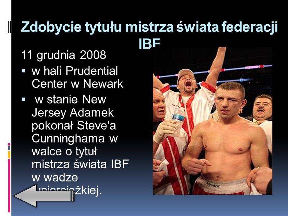 Zdobycie tytułu mistrza świata federacji IBO 9 czerwca 2007 podczas gali w katowickim Spodku Tomasz Adamek pokonał w siódmej rundzie przez techniczny nokaut Panamczyka Luisa Pinedę i zdobył tytuł mistrza świata federacji IBO w kategorii juniorciężkiej.