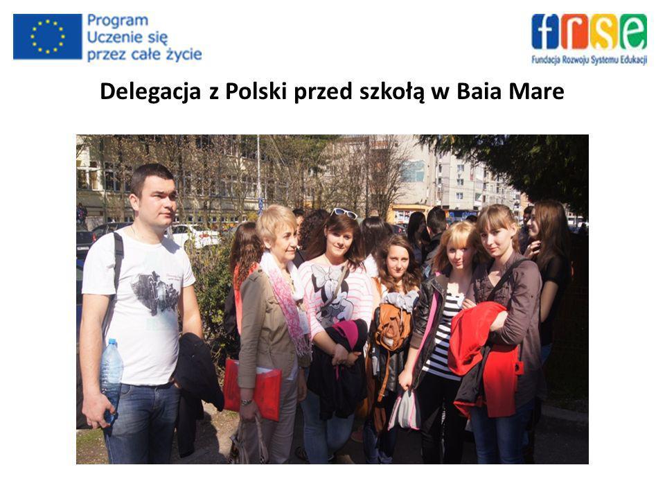 Delegacja z Polski przed szkołą w Baia Mare