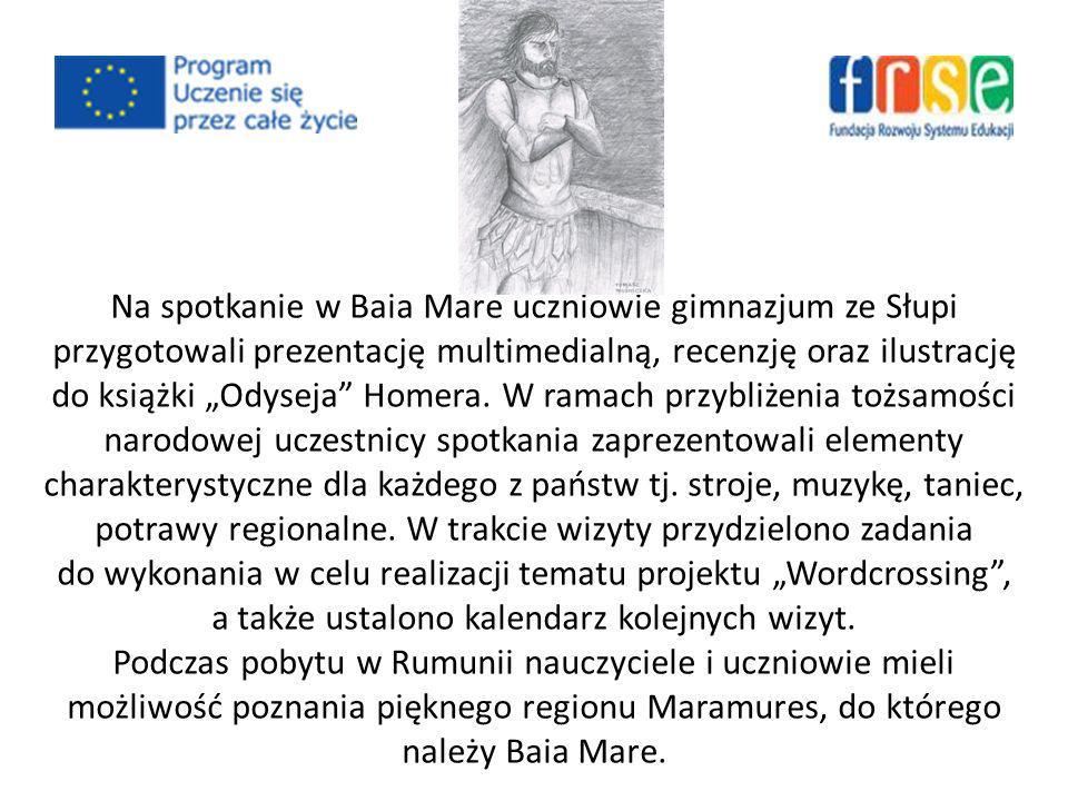 Na spotkanie w Baia Mare uczniowie gimnazjum ze Słupi przygotowali prezentację multimedialną, recenzję oraz ilustrację do książki Odyseja Homera.