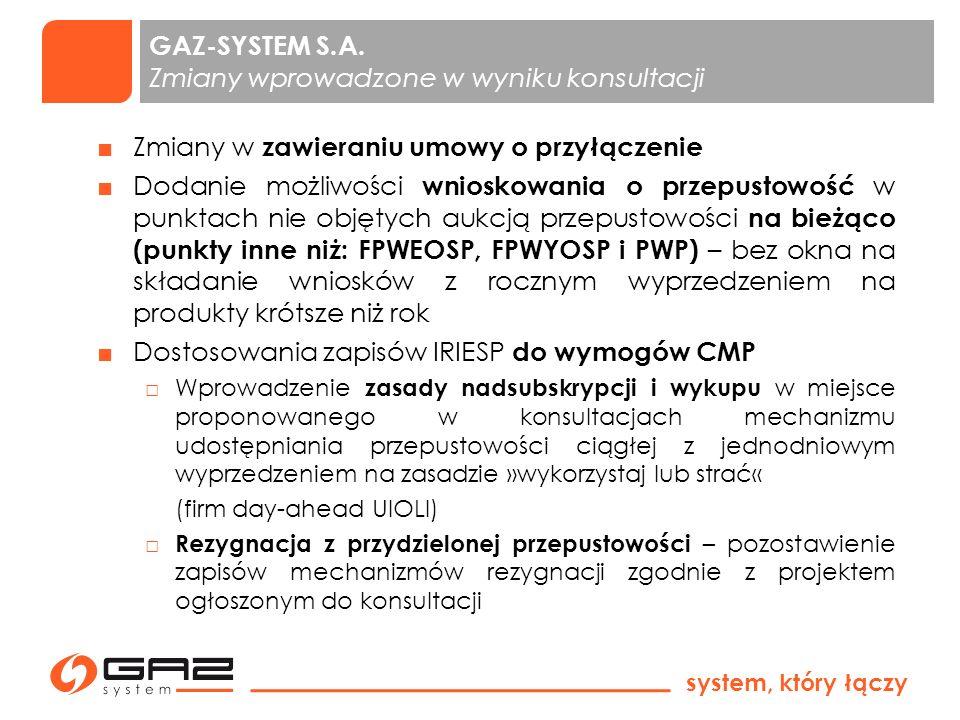 system, który łączy 1 Wprowadzenie Punktu Wzajemnego Połączenia (PWP) na granicy z Systemem Gazociągów Tranzytowych Dodanie usługi warunkowej ciągłej Rozchylenie cen dostawy i poboru paliwa gazowego do rozliczeń niezbilansowania ( CRG D i CRG D ) Wprowadzenie priorytetów redukcji nominacji w przypadku korzystania z przepustowości przerywanej Wprowadzenie terminów aukcji przepustowości zgodnie z kodeksem CAM oraz likwidacja produktu półrocznego GAZ-SYSTEM S.A.