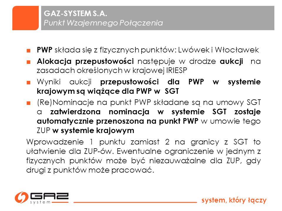 system, który łączy 3 Uproszczenie korzystania z zapasu obowiązkowego zlokalizowanego poza terytorium Rzeczypospolitej Polskiej (oświadczania ZUP, dane dotyczące instalacji magazynowej) Zlikwidowanie odniesień do norm zakładowych PGNiG SA i zastąpienie ich normami europejskimi (PN-EN) dotyczącymi tego samego zakresu GAZ-SYSTEM S.A.
