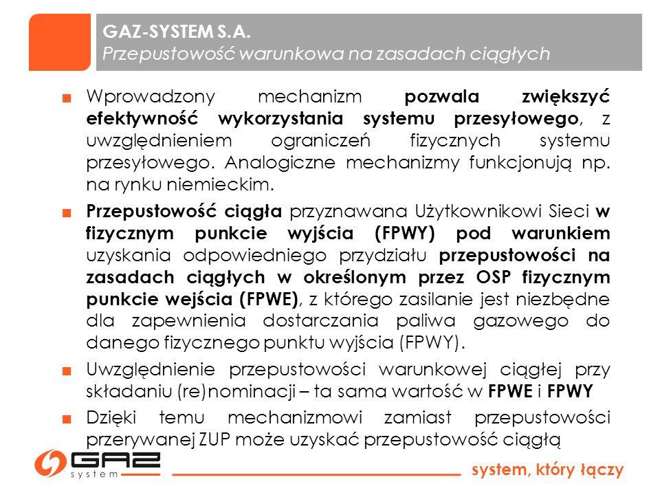 system, który łączy 4 PWP składa się z fizycznych punktów: Lwówek i Włocławek Alokacja przepustowości następuje w drodze aukcji na zasadach określonych w krajowej IRIESP Wyniki aukcji przepustowości dla PWP w systemie krajowym są wiążące dla PWP w SGT (Re)Nominacje na punkt PWP składane są na umowy SGT a zatwierdzona nominacja w systemie SGT zostaje automatycznie przenoszona na punkt PWP w umowie tego ZUP w systemie krajowym Wprowadzenie 1 punktu zamiast 2 na granicy z SGT to ułatwienie dla ZUP-ów.