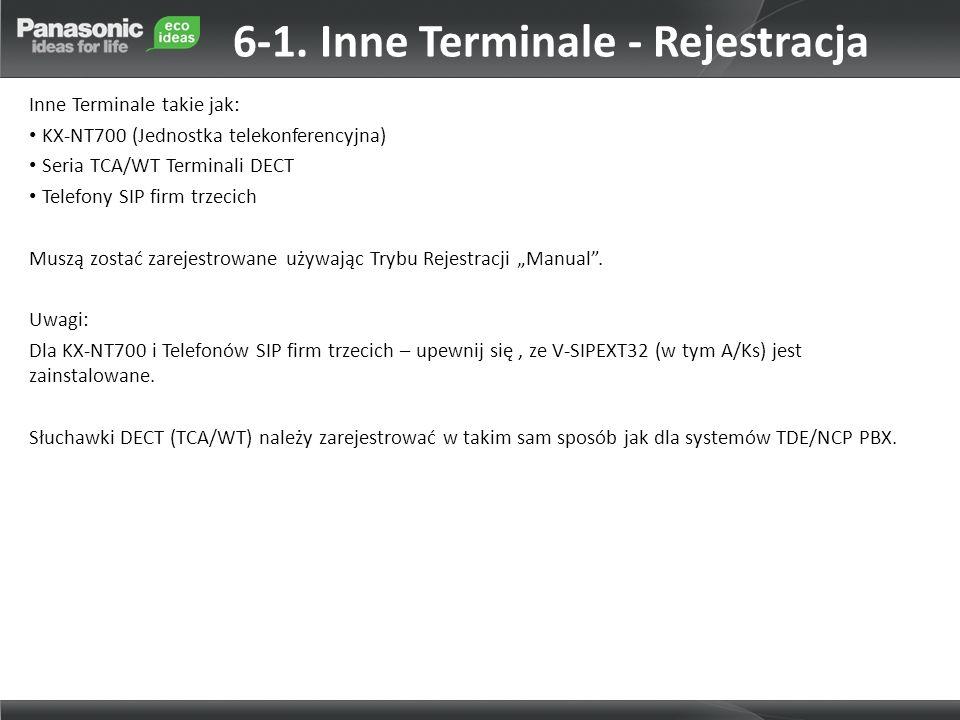 6-1. Inne Terminale - Rejestracja Inne Terminale takie jak: KX-NT700 (Jednostka telekonferencyjna) Seria TCA/WT Terminali DECT Telefony SIP firm trzec