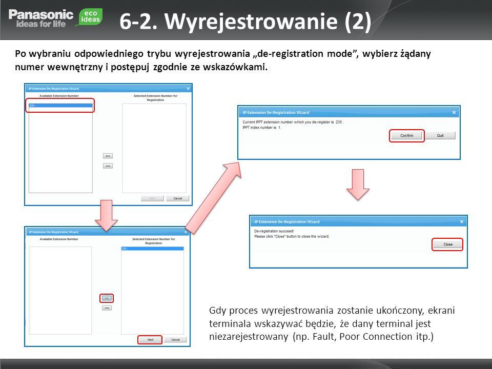 6-2. Wyrejestrowanie (2) Po wybraniu odpowiedniego trybu wyrejestrowania de-registration mode, wybierz żądany numer wewnętrzny i postępuj zgodnie ze w