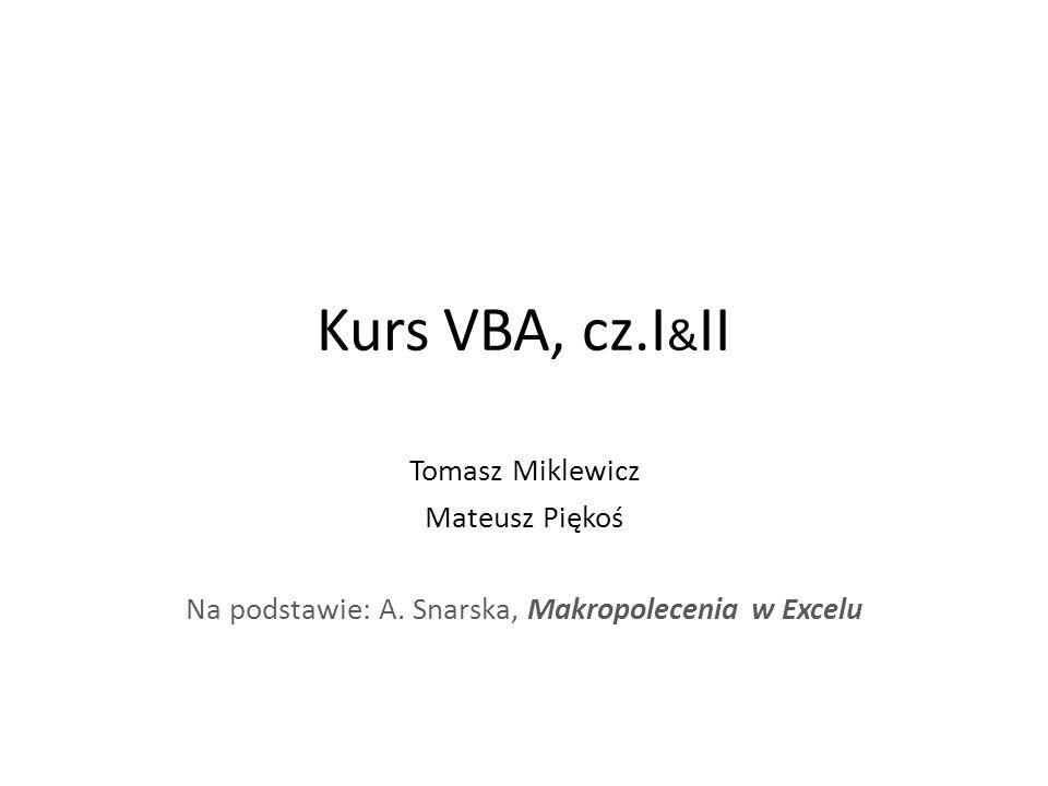 Kurs VBA, cz.I & II Tomasz Miklewicz Mateusz Piękoś Na podstawie: A.