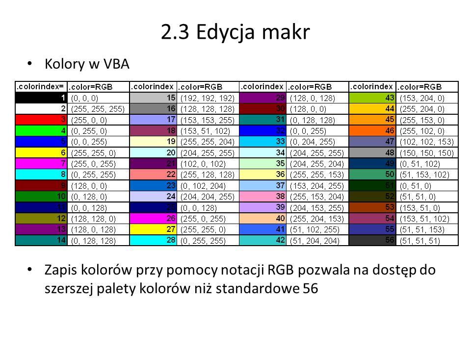 2.3 Edycja makr Kolory w VBA Zapis kolorów przy pomocy notacji RGB pozwala na dostęp do szerszej palety kolorów niż standardowe 56