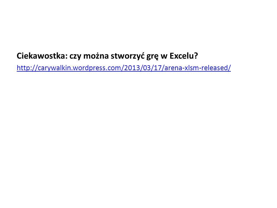 Ciekawostka: czy można stworzyć grę w Excelu.