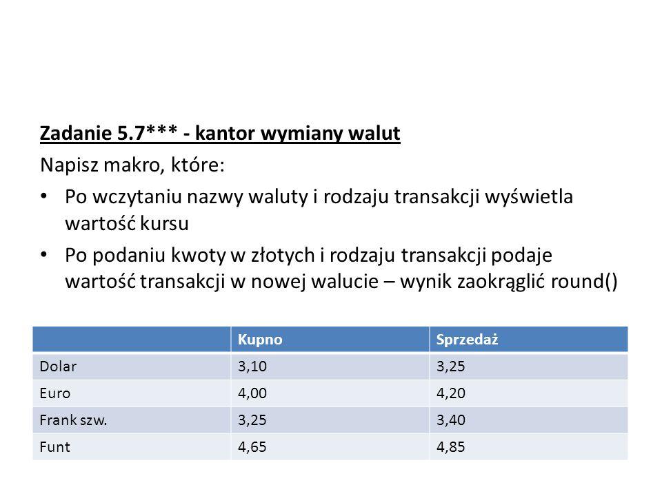 Zadanie 5.7*** - kantor wymiany walut Napisz makro, które: Po wczytaniu nazwy waluty i rodzaju transakcji wyświetla wartość kursu Po podaniu kwoty w złotych i rodzaju transakcji podaje wartość transakcji w nowej walucie – wynik zaokrąglić round() KupnoSprzedaż Dolar3,103,25 Euro4,004,20 Frank szw.3,253,40 Funt4,654,85