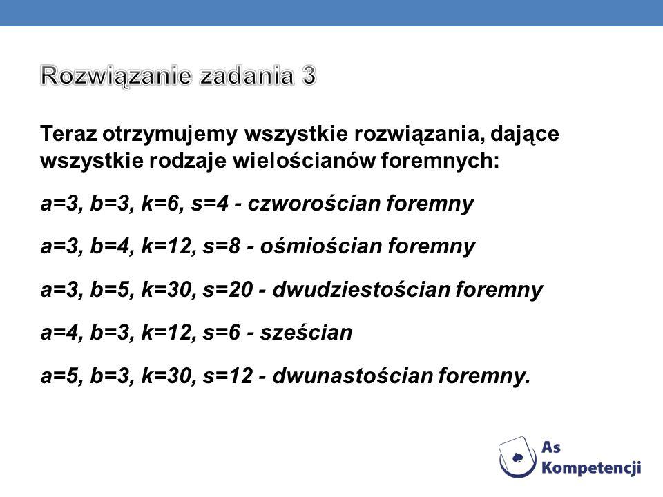 Teraz otrzymujemy wszystkie rozwiązania, dające wszystkie rodzaje wielościanów foremnych: a=3, b=3, k=6, s=4 - czworościan foremny a=3, b=4, k=12, s=8 - ośmiościan foremny a=3, b=5, k=30, s=20 - dwudziestościan foremny a=4, b=3, k=12, s=6 - sześcian a=5, b=3, k=30, s=12 - dwunastościan foremny.