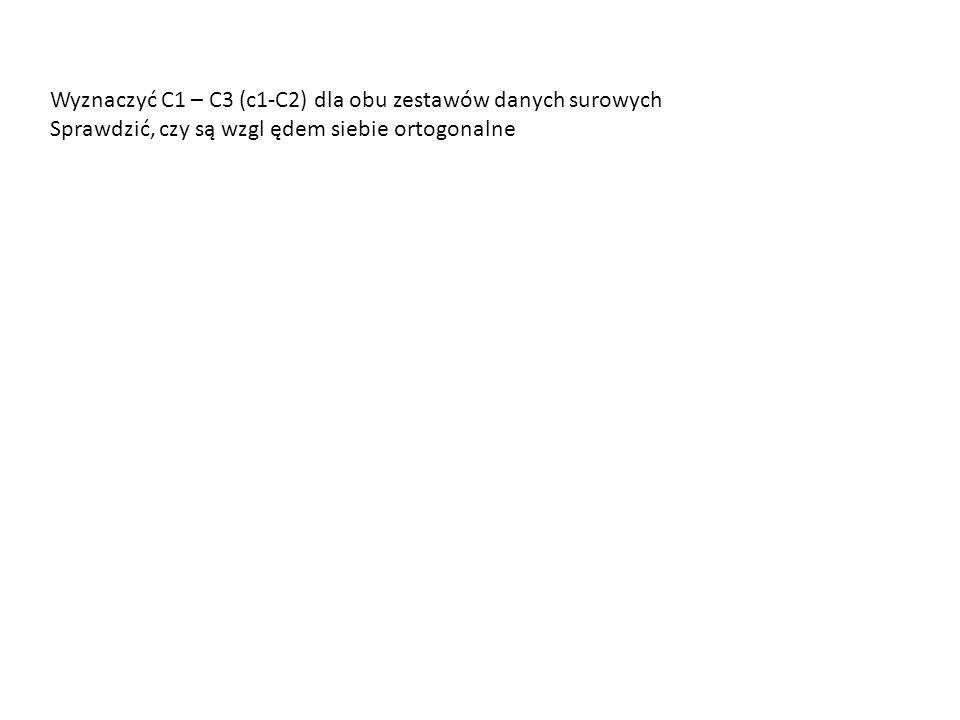 Wyznaczyć C1 – C3 (c1-C2) dla obu zestawów danych surowych Sprawdzić, czy są wzgl ędem siebie ortogonalne