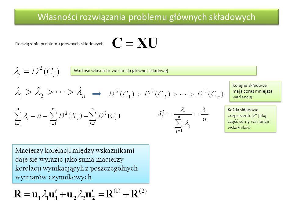 Własności rozwiązania problemu głównych składowych Rozwiązanie problemu głównych składowych Macierzy korelacji między wskaźnikami daje sie wyrazic jak