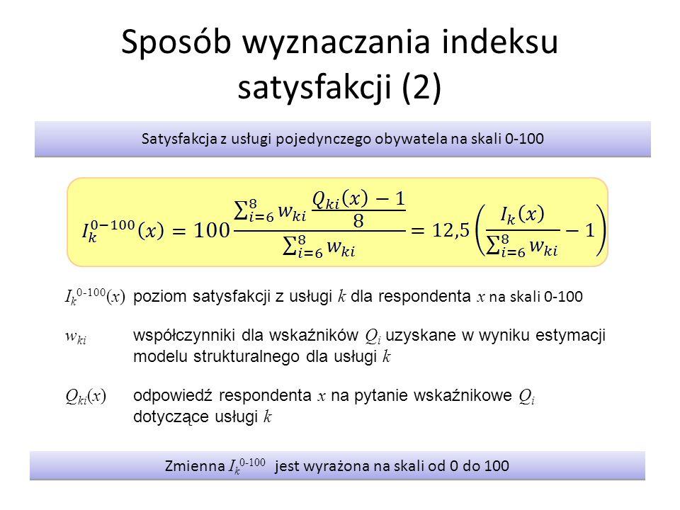 Sposób wyznaczania indeksu satysfakcji (2) Satysfakcja z usługi pojedynczego obywatela na skali 0-100 I k 0-100 (x) poziom satysfakcji z usługi k dla