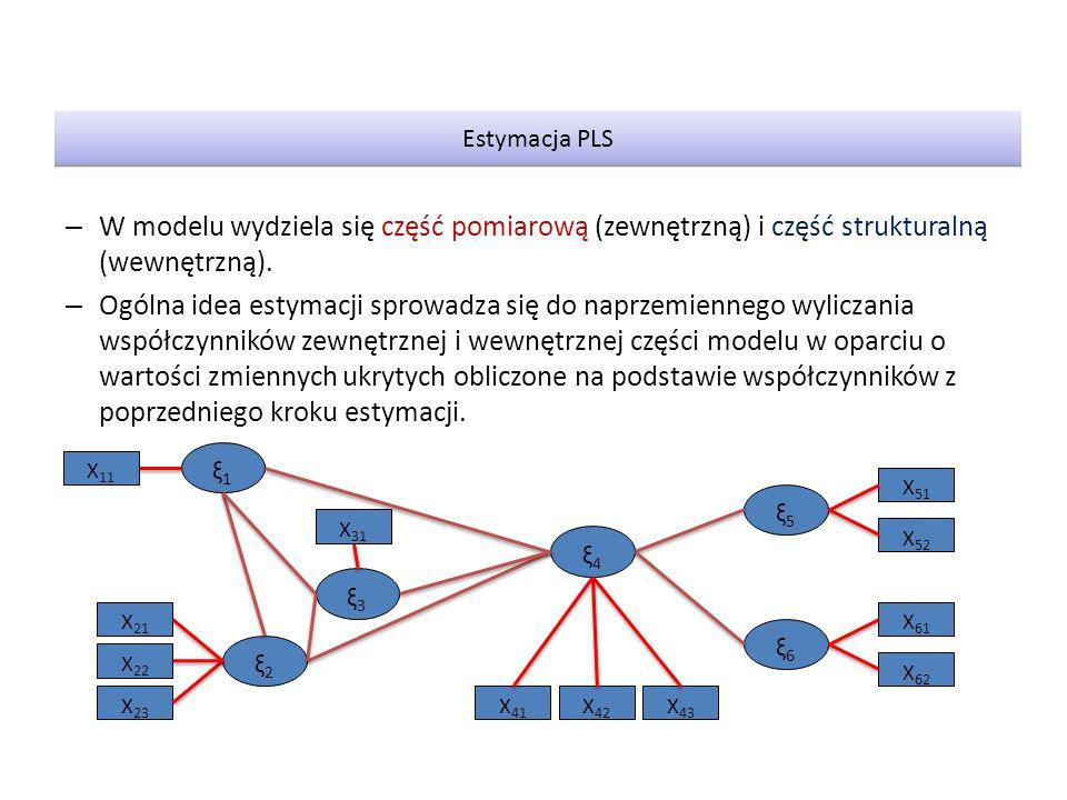 – W modelu wydziela się część pomiarową (zewnętrzną) i część strukturalną (wewnętrzną). – Ogólna idea estymacji sprowadza się do naprzemiennego wylicz