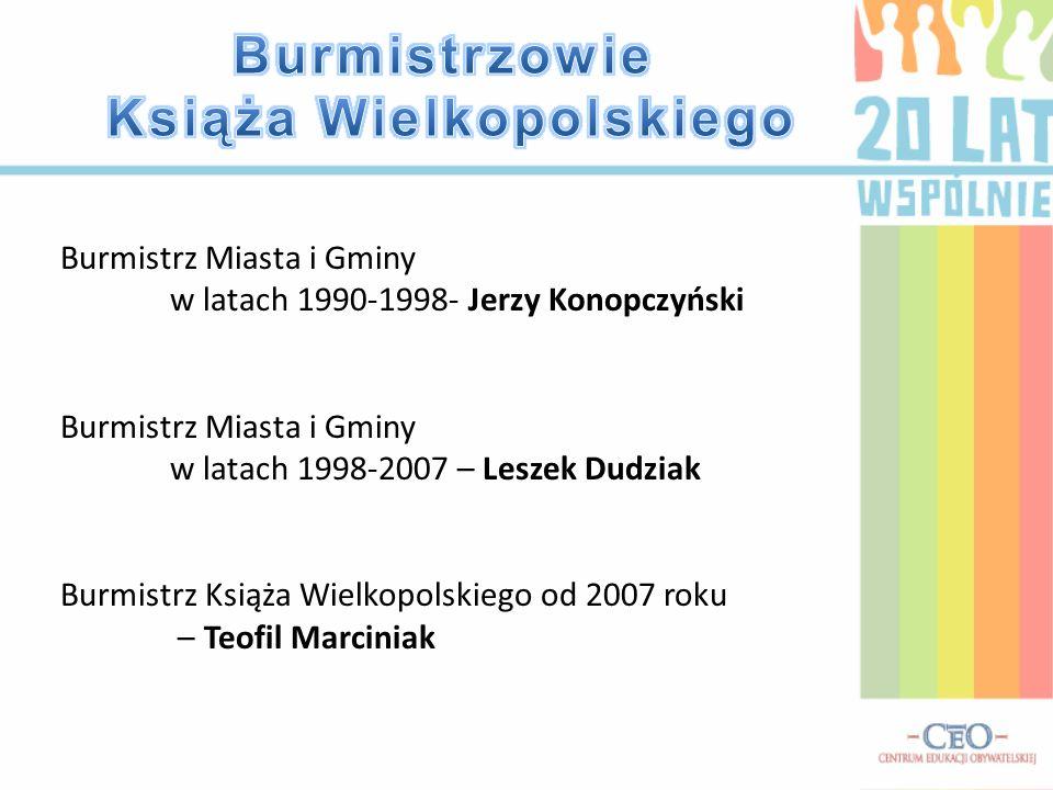 Burmistrz Miasta i Gminy w latach 1990-1998- Jerzy Konopczyński Burmistrz Miasta i Gminy w latach 1998-2007 – Leszek Dudziak Burmistrz Książa Wielkopo
