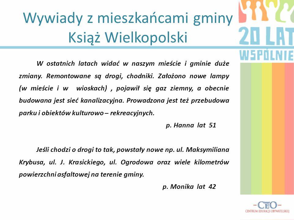 Wywiady z mieszkańcami gminy Książ Wielkopolski W ostatnich latach widać w naszym mieście i gminie duże zmiany. Remontowane są drogi, chodniki. Założo
