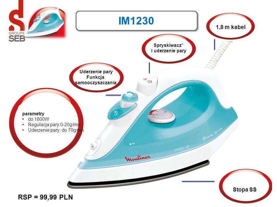 IM1230 Spryskiwacz* i uderzenie pary 1,8 m kabel Stopa SS parametry do 1800W Regulacja pary:0-20g/mn Uderzenie pary: do 70g/mn Uderzenie pary Funkcja