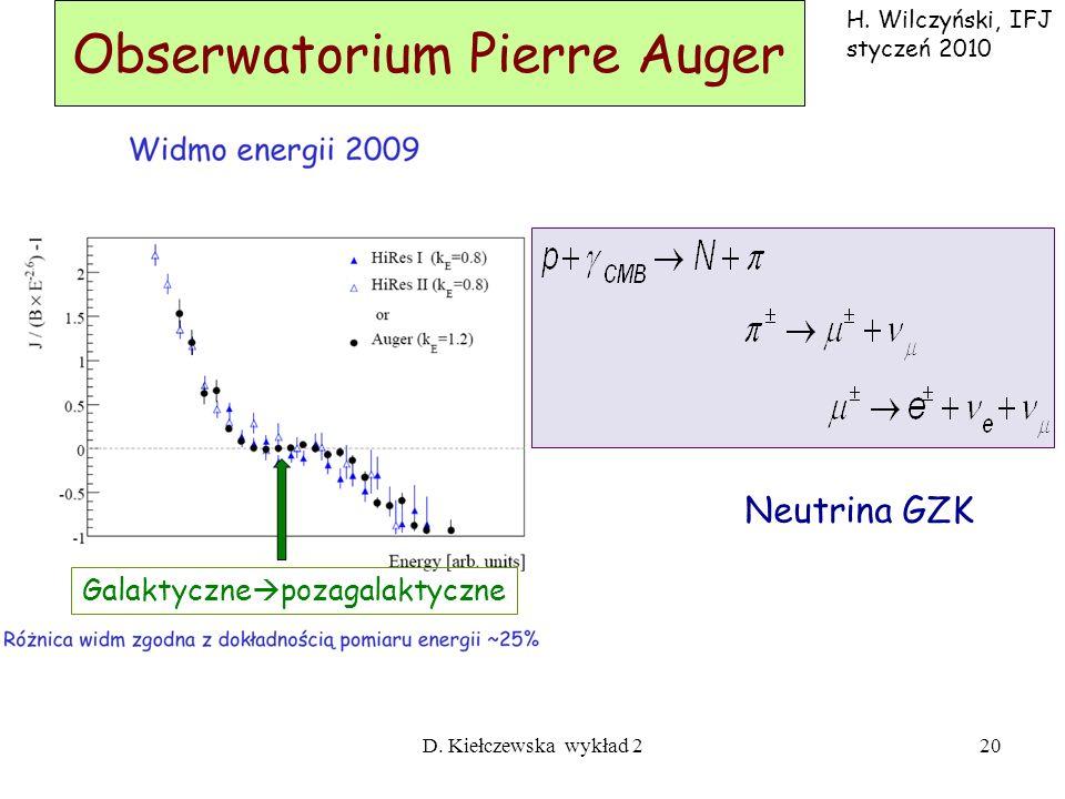 D. Kiełczewska wykład 219 Obserwatorium Pierre Auger Sieć powierzchniowa 1600 stacji rozstaw 1.5 km 3000 km 2 Detektor Fluorescencyjny 4 budynki teles
