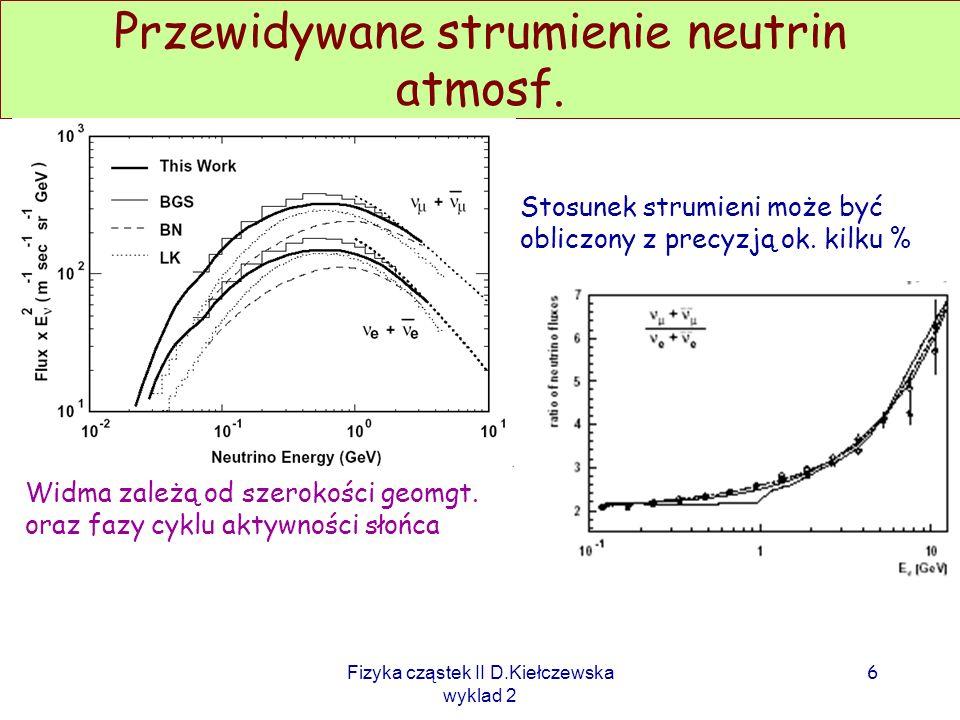 Fizyka cząstek II D.Kiełczewska wyklad 2 Na podstawie tych pomiarów (oraz pomiarów mionów atmosf.) liczone są oczekiwane widma i strumienie neutrin. A