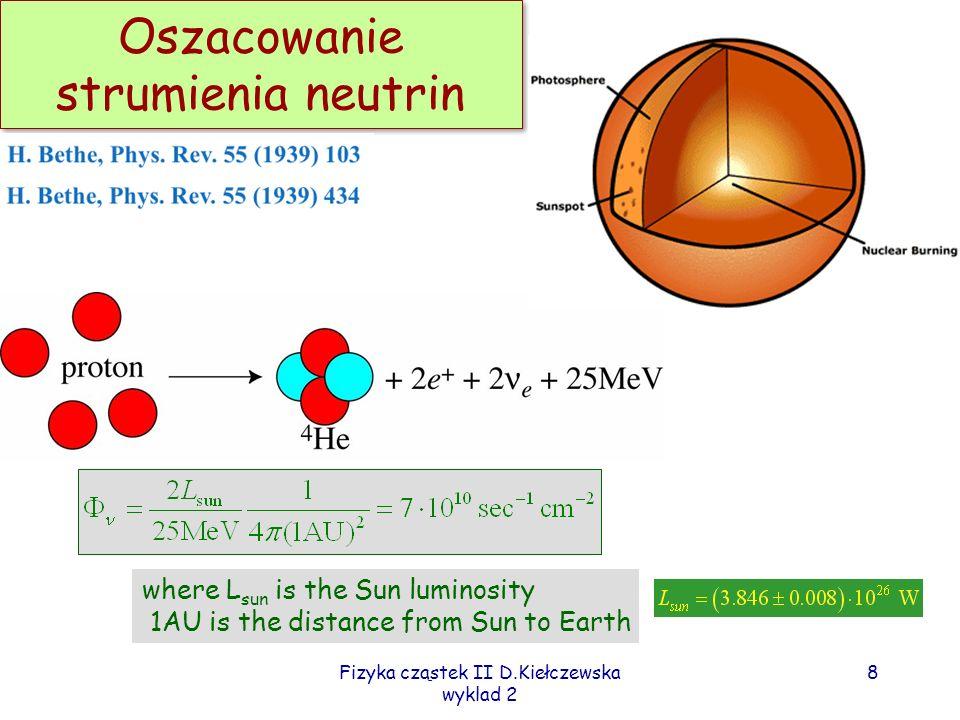 Fizyka cząstek II D.Kiełczewska wyklad 2 7 Thermonuclear fusion reactions p+p> e +e + +d 0.42MeV max p+ e - + p> e +d 1.44 MeV d+p> + 3 He 3 He+ 3 He> 4 He+p+p 3 He+ 4 He> 7 Be+ 7 Be+ e - > e + 7 Li.86 MeV 7 Be+p> 8 B+ 7 Li+p> 4 He+ 4 He 8 B> e - + e + 8 Be 15 MeV max 8 Be> 4 He+ 4 He ppI (85%) ppII (15%) ppIII (0.01%) rare but easier to measure
