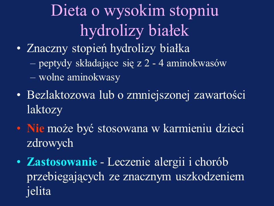 Dieta o niskim stopniu hydrolizy białek Nieznaczny stopień hydrolizy białka –peptydy składające się z 11 - 15 aminokwasów Zawiera laktozę Oznakowana s