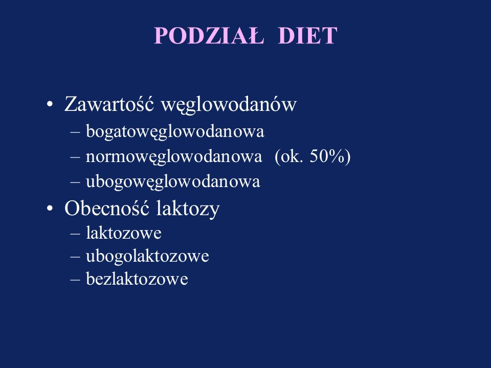 Charakterystyka diet zbilansowanych Pochodzenie poszczególnych składników Białka Tłuszcze Węglowodany Mleko krowie: kazeina białka serwatkowe Soja Zboża Groch Kolagen Polimery glukozy: dekstryny (10 - 20 cz.) maltodekstryny (5 - 10 cz.) syrop kukurydziany (3 - 5cz.) Laktoza Sacharoza Glukoza Fruktoza Tłuszcz roślinny (LCT): olej kukurydziany olej sojowy olej palmowy MCT kw.