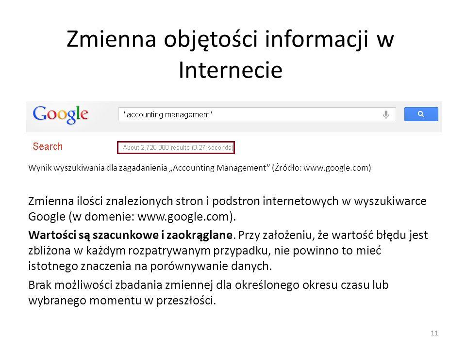 Zmienna objętości informacji w Internecie Wynik wyszukiwania dla zagadanienia Accounting Management (Źródło: www.google.com) Zmienna ilości znalezionych stron i podstron internetowych w wyszukiwarce Google (w domenie: www.google.com).