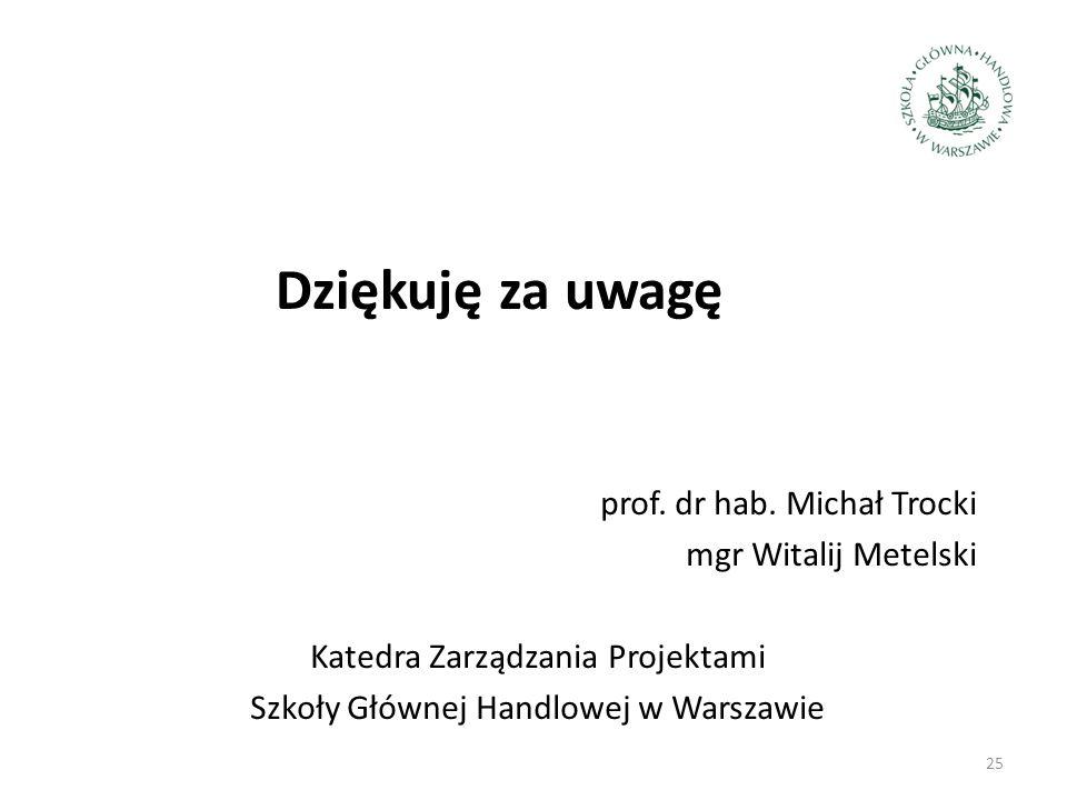 Dziękuję za uwagę prof. dr hab. Michał Trocki mgr Witalij Metelski Katedra Zarządzania Projektami Szkoły Głównej Handlowej w Warszawie 25
