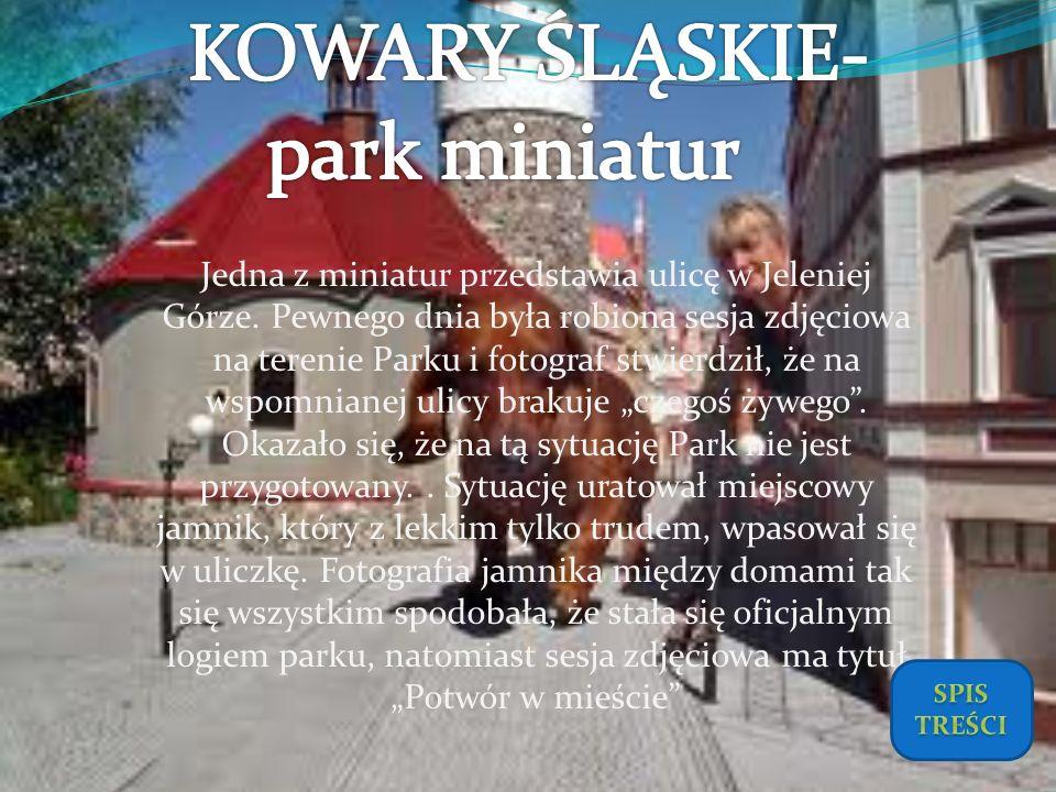 Jedna z miniatur przedstawia ulicę w Jeleniej Górze. Pewnego dnia była robiona sesja zdjęciowa na terenie Parku i fotograf stwierdził, że na wspomnian